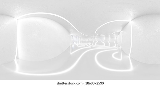 360 degree panorama of big white room technology modern futuristic design 3d render illustration vr hdr style