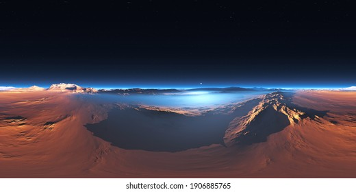360 degree panorama of the cold desert on Mars. Martian Landscape, environment HDRI map. Equirectangular projection, spherical panorama. 3d rendering