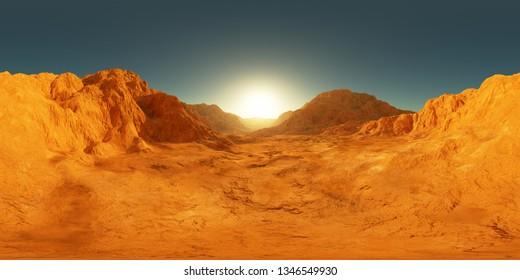 360 degree panorama of Mars sunset, environment HDRI map. Equirectangular projection, spherical panorama. Martian landscape, 3d rendering