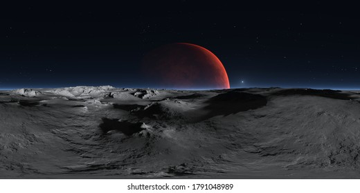 360 degree panorama of Phobos with the red planet Mars in the background, environment HDRI map. Equirectangular projection, spherical panorama. 3d rendering
