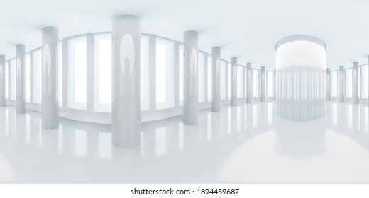 360 degree panorama view of white building hall architecture 3d render illustration hdr vr style