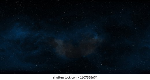 360 degree space background with nebula and stars, equirectangular projection, environment map. HDRI spherical panorama. 3d illustration