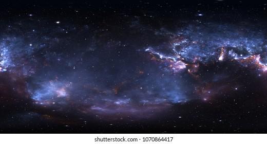 Панорама космической туманности 360 градусов, равнопрямоугольная проекция, карта среды. Сферическая панорама HDRI. Пространство фон с туманностью и звездами. 3d иллюстрация