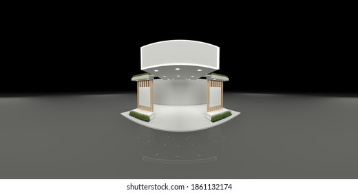 360 degree spherical seamless VR panorama. Empty concrete exhibition booth interior with walls and light stands, 3d rendering illustration.