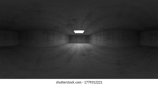 360 degree spherical vr panorama, HDRI seamless environment map of a symmetric empty dark concrete room interior with white square light window in ceiling, 3d rendering illustration