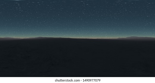 360 degree starry night sky texture, night desert landscape. Equirectangular projection, environment map, HDRI spherical panorama. 3d illustration