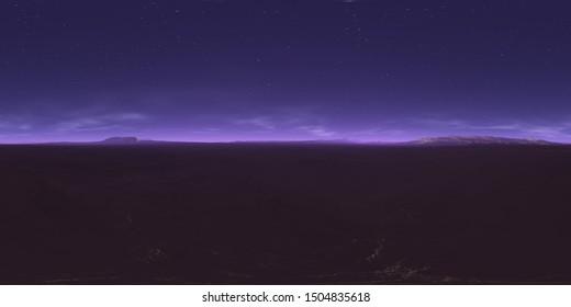 360 degree starry night sky texture, night alien desert landscape. Equirectangular projection, environment map, HDRI spherical panorama. 3d illustration