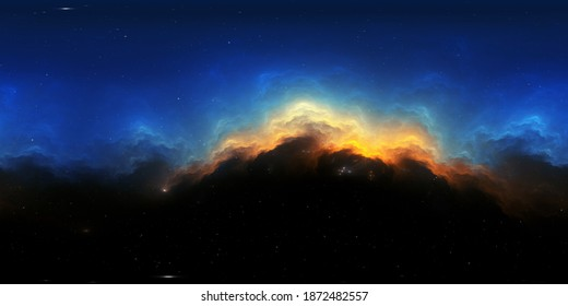 360 degree stellar space background with nebula. Panorama, environment 360 HDRI map. Equirectangular projection, spherical panorama. 3d illustration