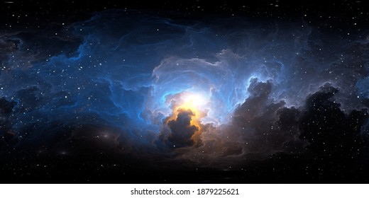 360 degree stellar space background with nebula in another dimension. Panorama, environment 360 HDRI map. Equirectangular projection, spherical panorama. 3d illustration