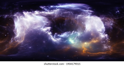 360 degree stellar space background with nebula. Panorama, environment 360 HDRI map. Equirectangular projection, spherical panorama. 3d illustration