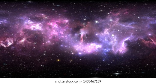 360 degree stellar system and gas nebula. Environment 360 HDRI map. Equirectangular projection, spherical panorama. 3d illustration