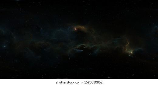 360 degree stellar system and gas nebula. Panorama, environment 360 HDRI map. Equirectangular projection, spherical panorama. 3d illustration