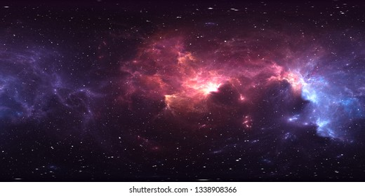 360 degree stellar system and nebula. Panorama, environment 360 HDRI map. Equirectangular projection, spherical panorama. 3d illustration