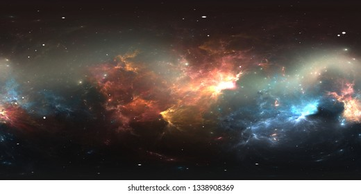 360 degree stellar system and nebula. Panorama, environment 360 HDRI map. Equirectangular projection, spherical panorama. 3d illustration