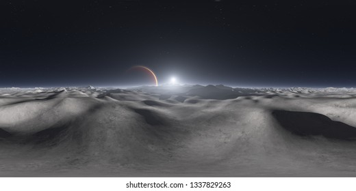 360 degree view from Jupiter's moon, equirectangular projection, environment map. HDRI spherical panorama. Space background. 3d illustration