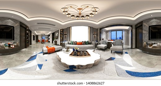 360 degrees home living and dining room, 3d rendering