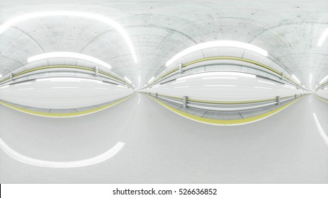 360 degrees panorama. auto tunnel, fast driving. 3d rendering.