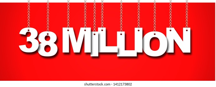38 MILLION word hanging on Chain. 3d illustration