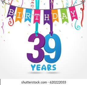 39 Years Birthday Celebration greeting card Design
