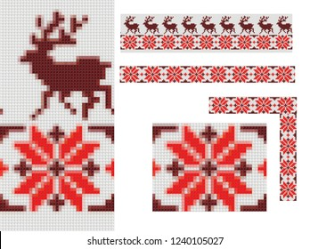 3c rendering ornament new year pattern cross stitch very large reindeer