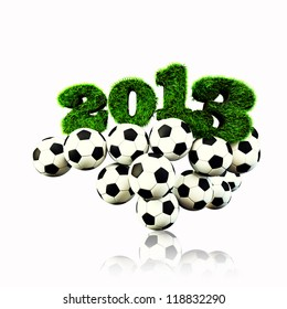 3D 2013 year render grass textured Title & footballs with white isoleted  background new sport year Football, Soccer season