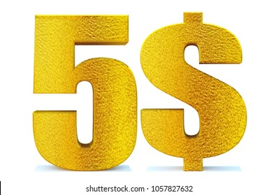 3d 5 dollar sign on white background