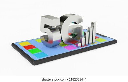 3D 5G symbol upon a mobile phone with a bar chart on a white background. 3D Rendering.