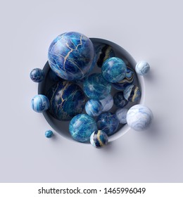 3d abstract background, assorted blue marble balls inside round white niche