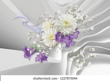3d abstract background, chrysanthemums and bell-flowers. 3d rendering. Celebration 3d background.