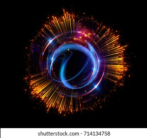 3d abstract background. Elegant glowing circle. Light ring. Atoms and electrons. Sparking particle. Luxury streaks Colorful ellipse. Glint sphere. Bright border. Energy ball. Physics concept.