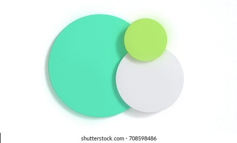 3d abstract background green mint white circle shape minimal 3d rendering