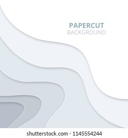 3D abstract background with light paper cut shapes. Papercut background