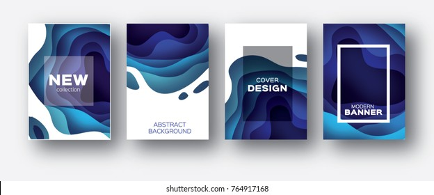 3D abstract background with paper cut shapes. .Layered tonnel wave background. Shadows box.  design for business presentations, flyers, posters