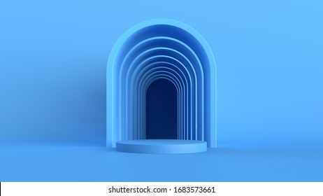 3d abstract background with pedestal. Simple shapes, smooth light, soft shadows. Roughness materials. Arch geometry.