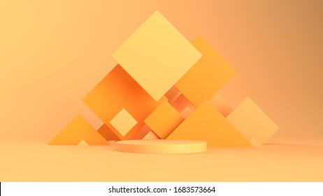 3d abstract background with pedestal. Simple shapes, smooth light, soft shadows. Roughness materials. Squares behind the scene.