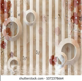 3d Abstract circles background