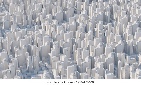 3d abstract city rendered with long focal length camera. City with skyscrapers. Simple elegant city massive with daylight.