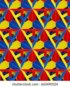 3d abstract colored pattern in the style of Superman, seamless ornament for background, red blue and yellow