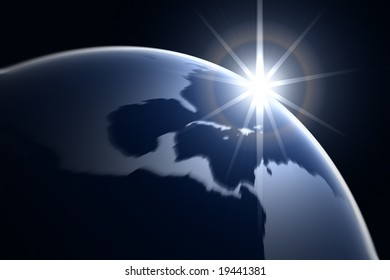 3d abstract Earth with Rising Sun
