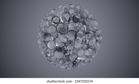 3d abstract elegant background with glass balls that form one big sphere shape. Beauty background. Reflective and refractive surface.