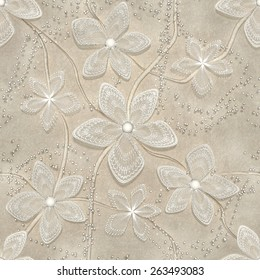 3d, abstract floral background, seamless