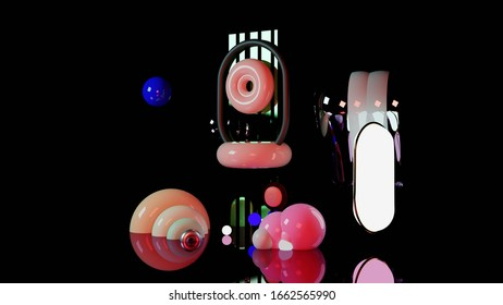 3D abstract Futuristic shapes composition