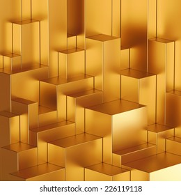 3d abstract geometric background, gold blocks