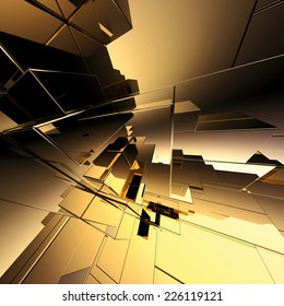 3d abstract geometric background, gold futuristic structure