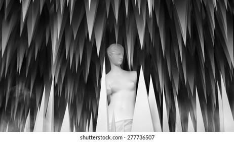 3D abstract  geometric background sculpture