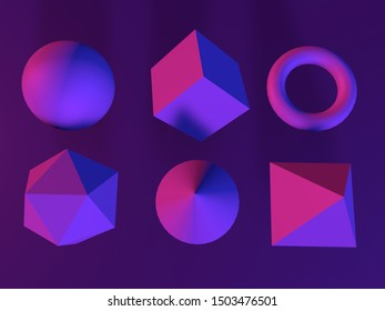 3d abstract geometric shapes in neon light. Top view. 3d render illustration.