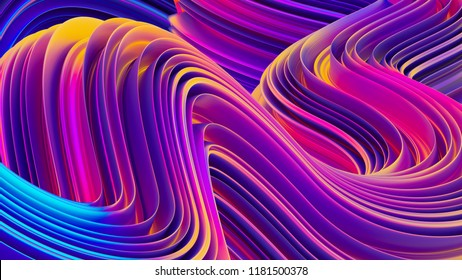 3D abstract geometric twisted ultraviolet shapes, liquid bright background, abstract flow shapes, multicolored template for banners and posters, 3D rendering.