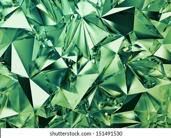 3d abstract green crystal background