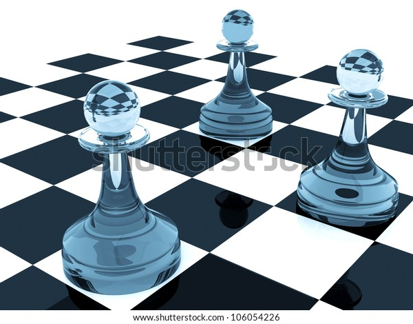 3d abstract illustration of chess pieces: three classical shape pawns made of nice colored blue glass