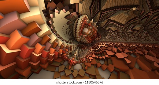 3D abstract landscape, escher style cube shapes arranged into organic spherical shapes, red and brown/orange colored illustration. Computer generated artwork, fractal recursive arrangement of shapes.